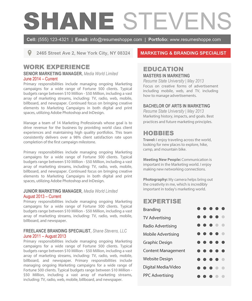 Creative Resume Templates The Shane Resume Creative Resume Template