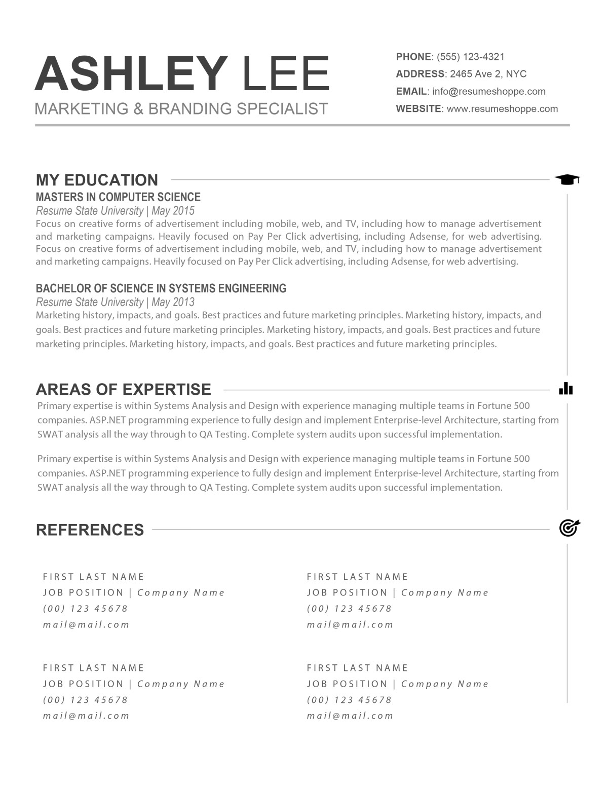 the ashley resume creative resume for mac and word ashley resume 1 ashley resume 2