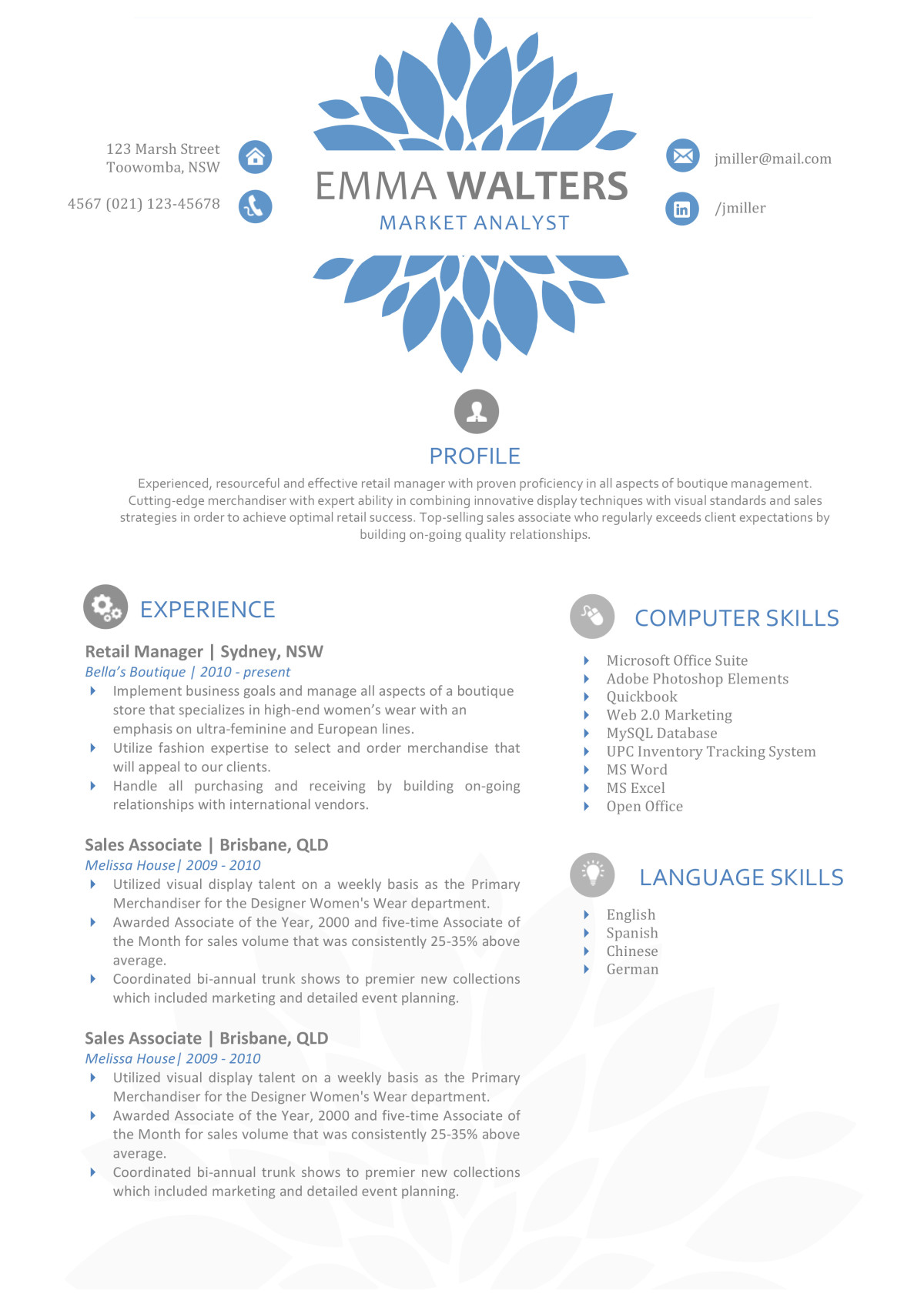 the emma resume creative resume template emma walters resume a4 1