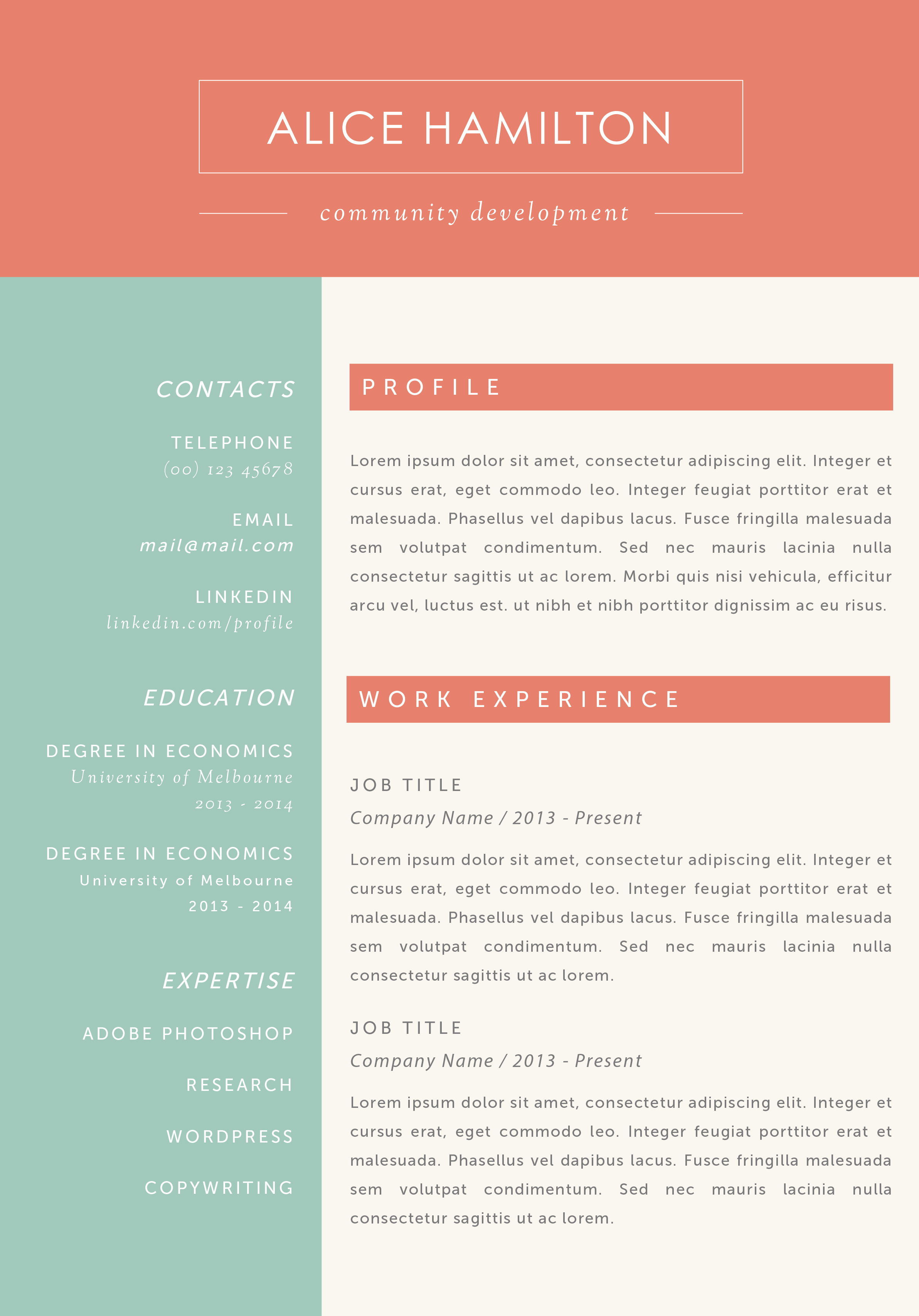 Free Resume Template Resume Resume Templates For Mac Word Page Resume  Template Cv Template Cover Letter