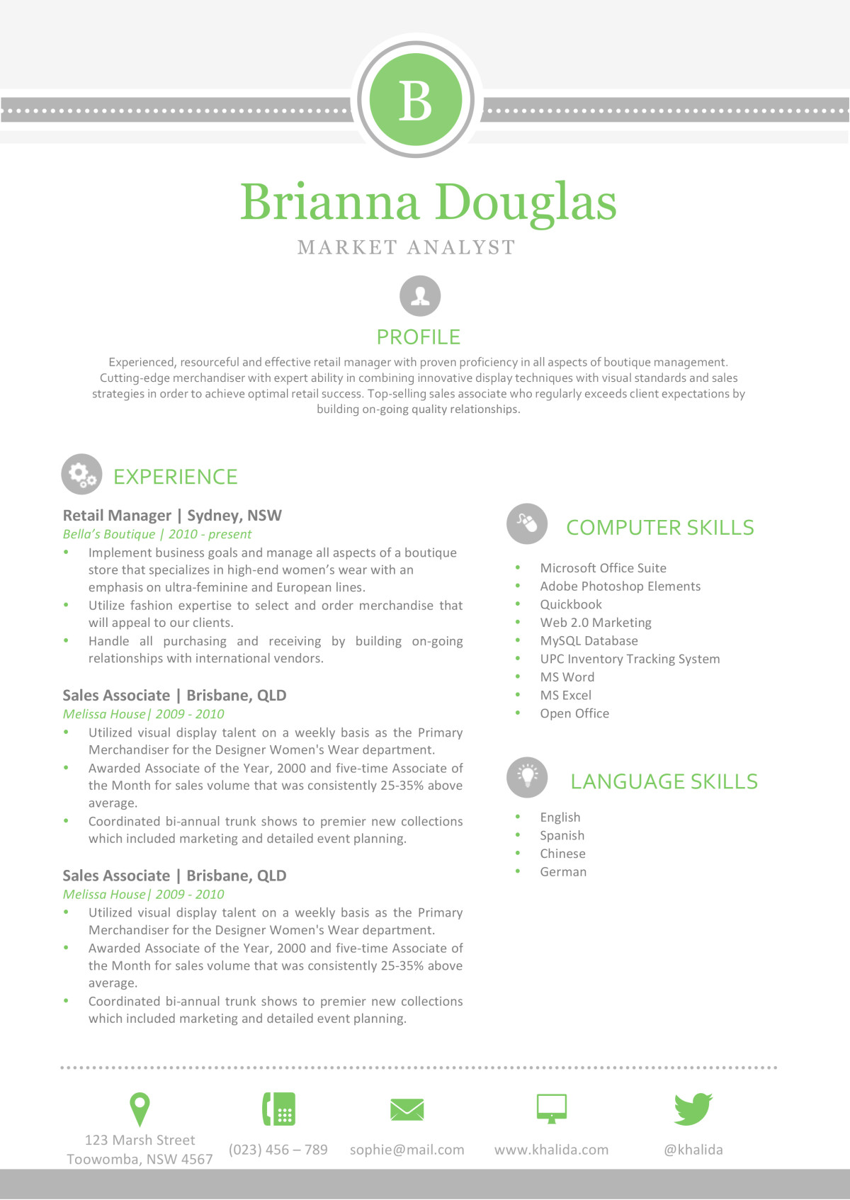 the brianna resume