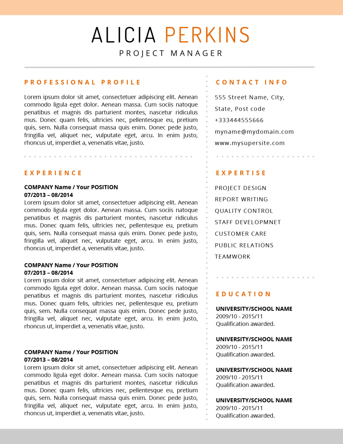 the alicia resume  u2013 soft colored template