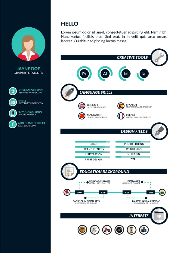 infographic resume for designer free download