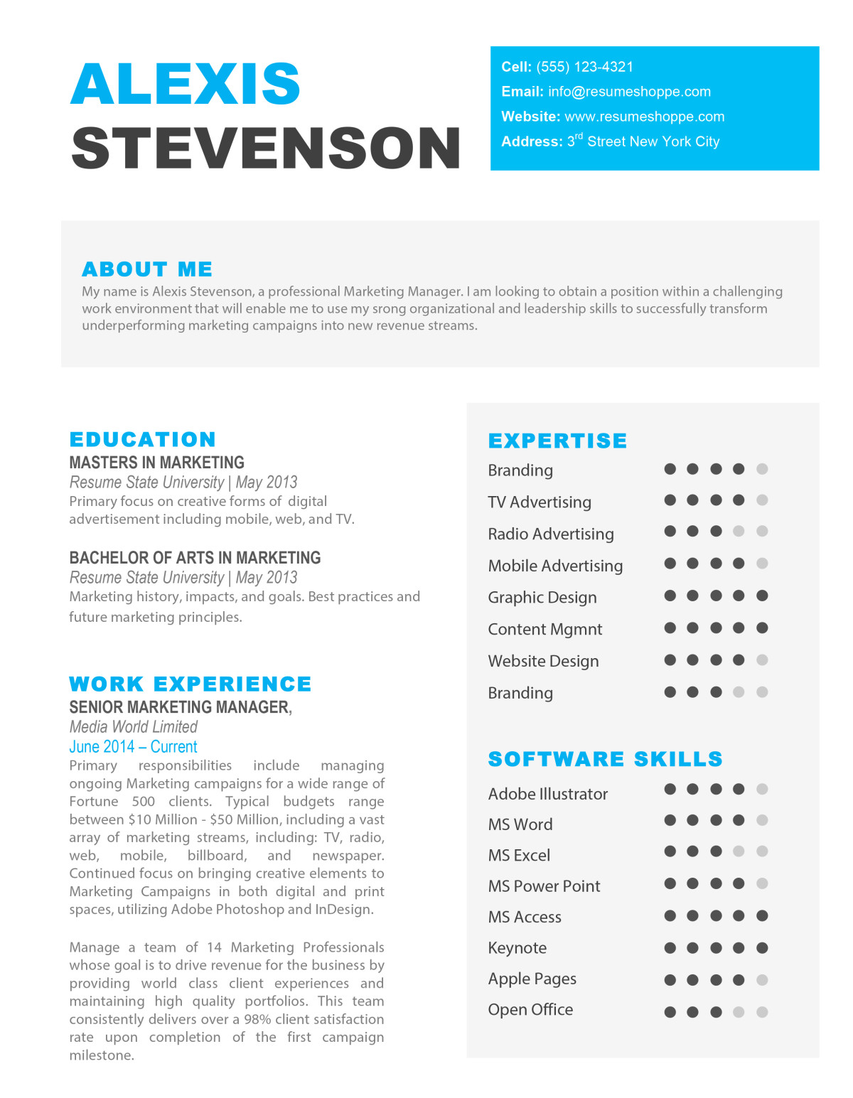 The Alexis Resume 1  Creative Marketing Resumes