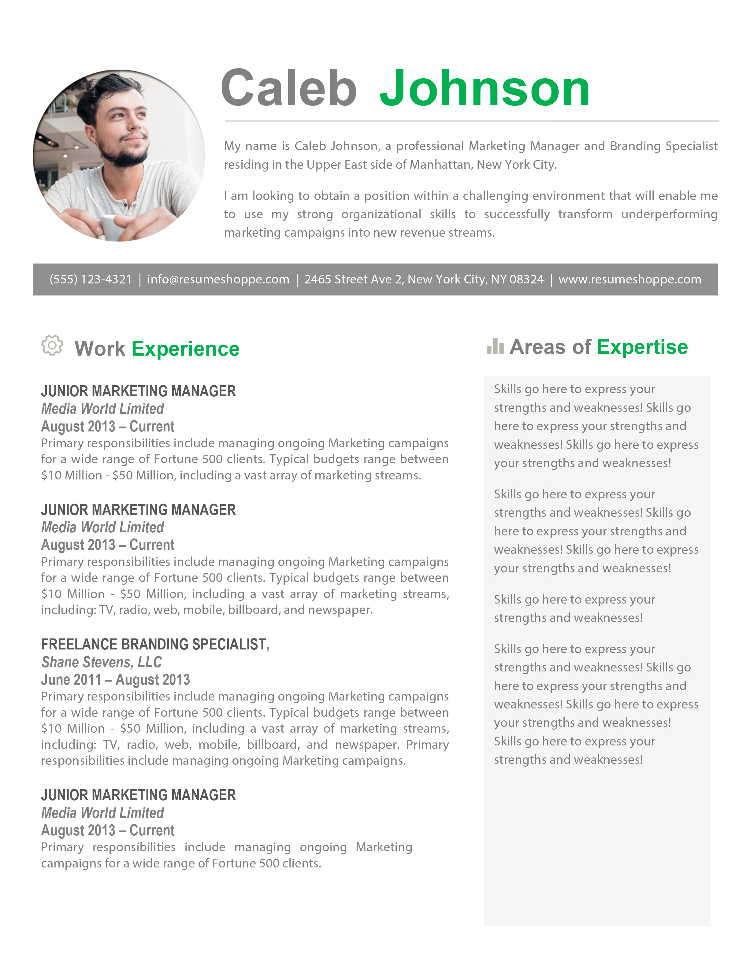 thecaleb_resume 1jpg - Marketing Resume Template