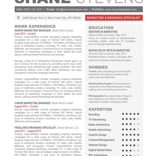The Shane Resume. Word Template ...
