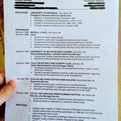Tom Brady's resume