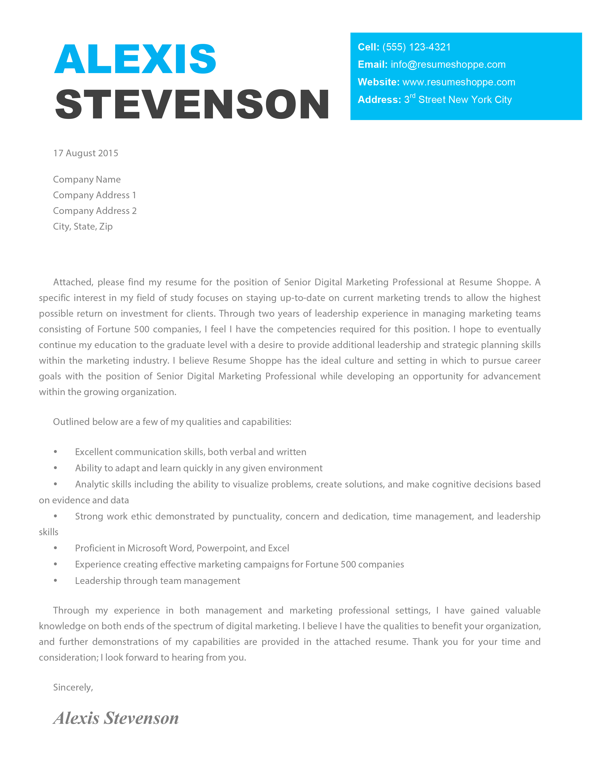 The Alexis Cover Letter Creative Cover Letter - Customer service cover letter template free