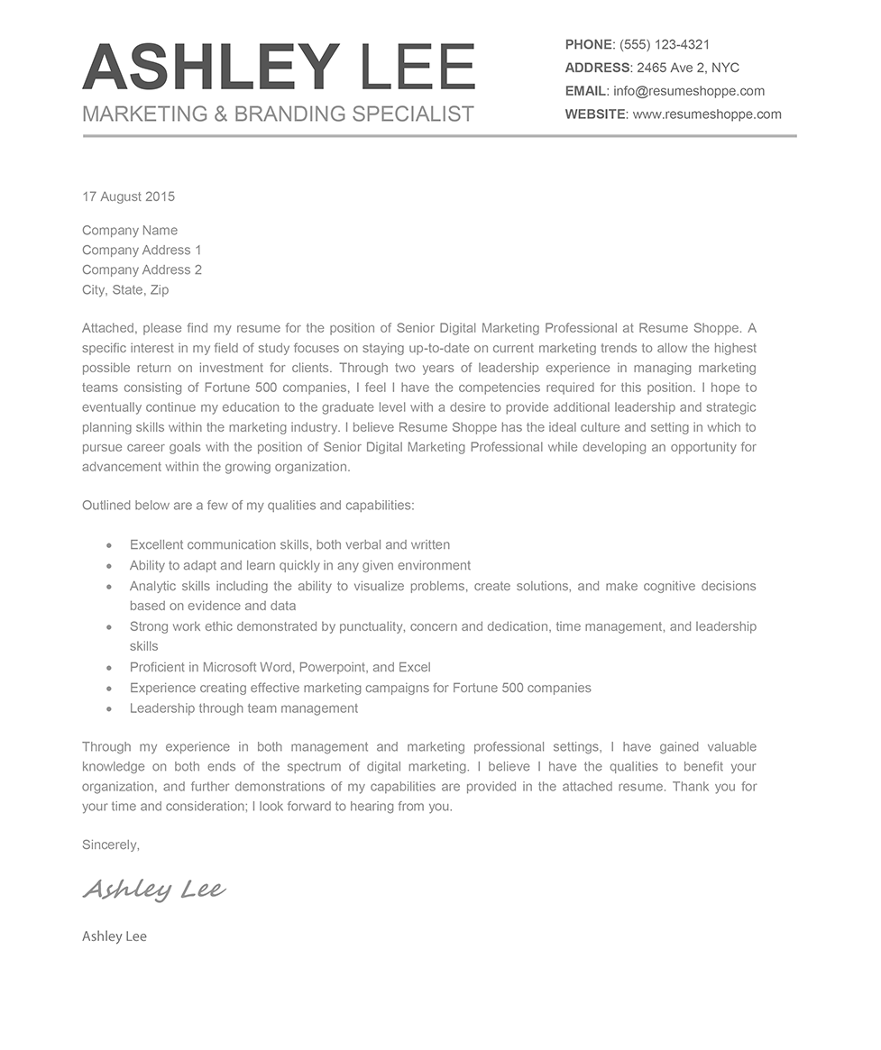 TheAshleyCoverLetter  What Is A Cover Letter To A Resume