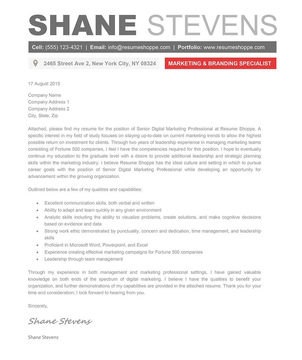the shane cover letter