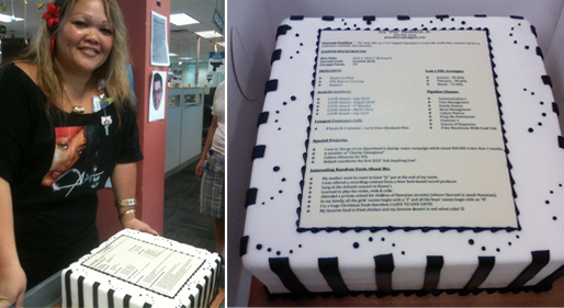 Resume made out of cake