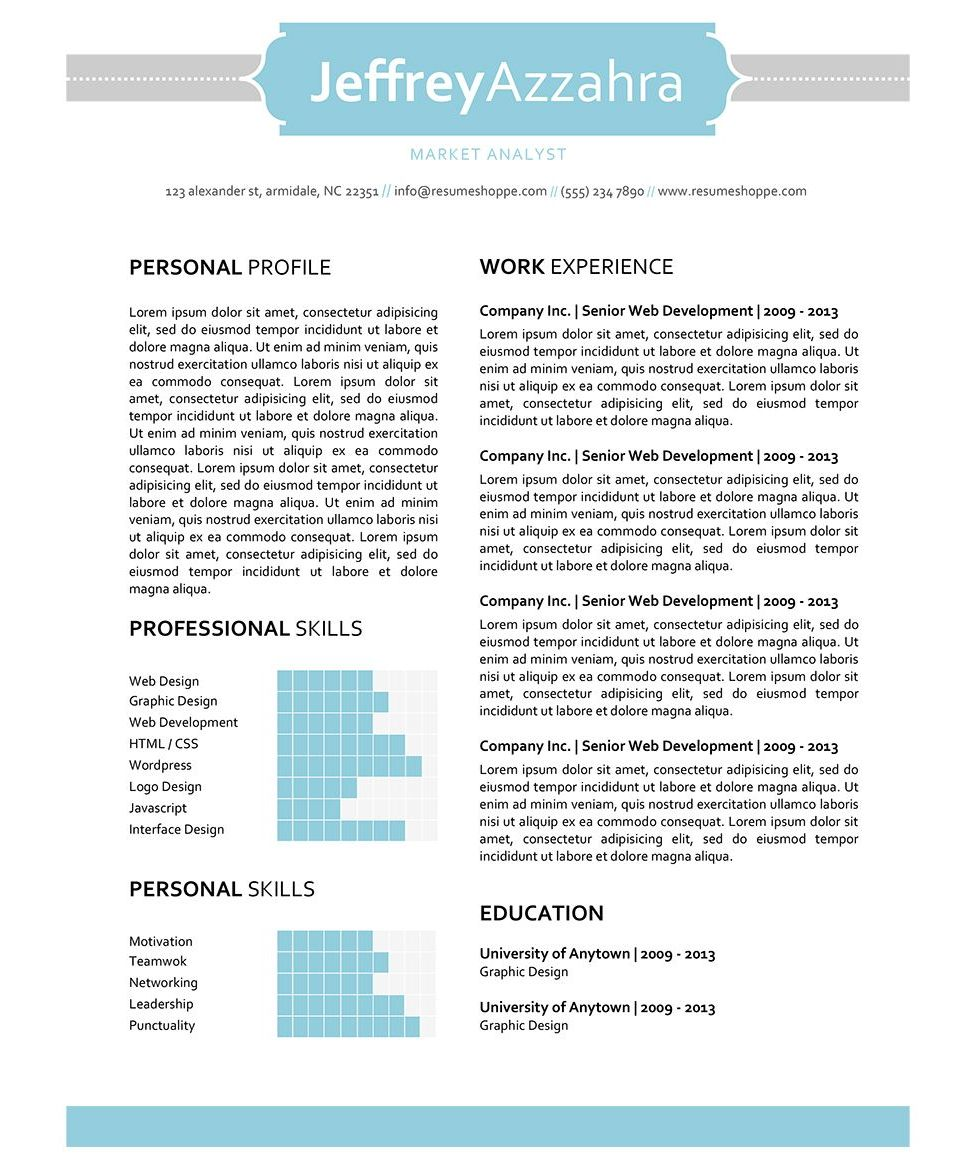 the jeffrey resume creative resume template