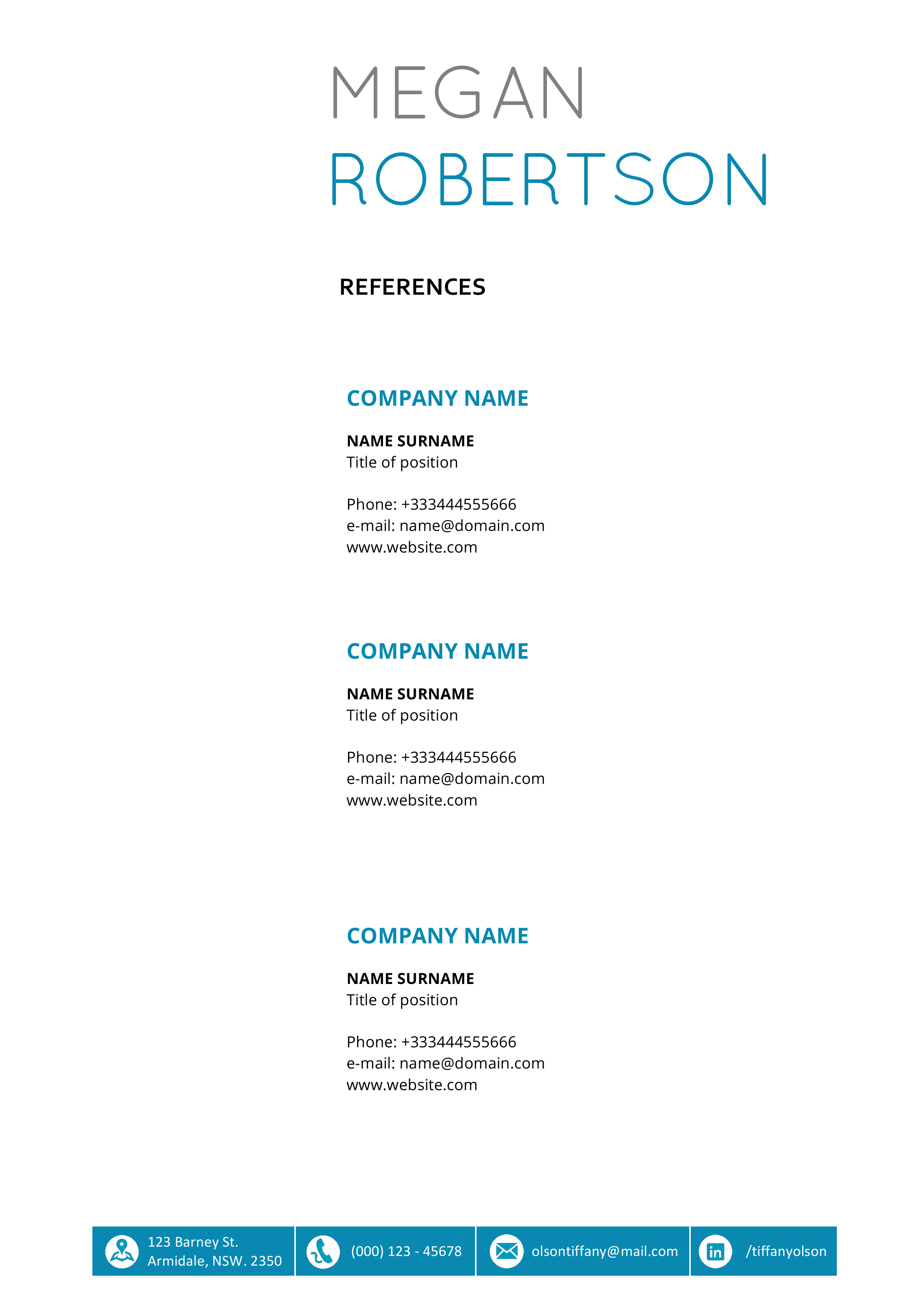 The Megan Resume - Professional Word Template