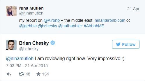 brian chesky tweet nina mufleh