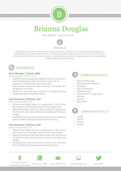 The Brianna Resume  Resume Template For Mac