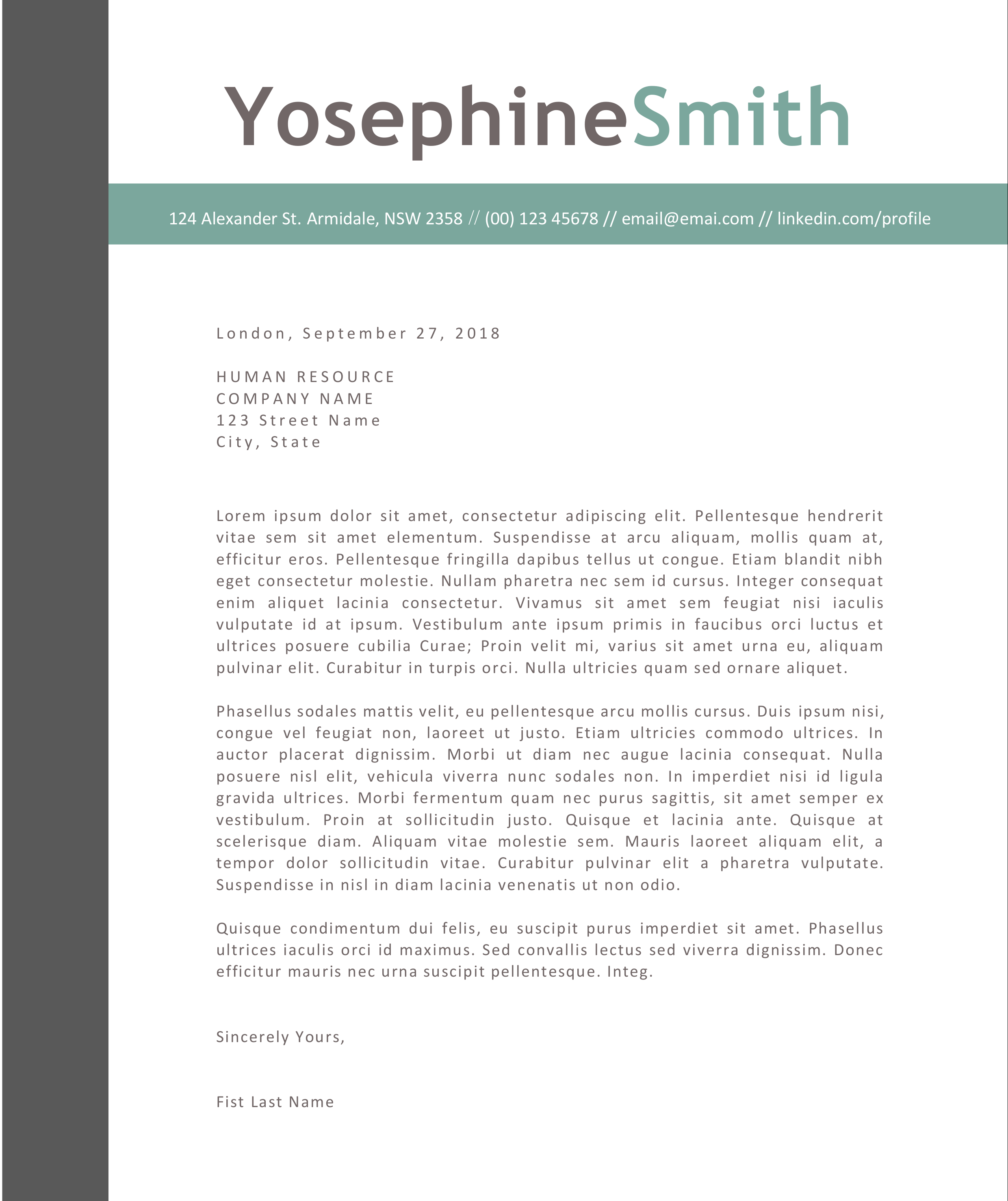 The Yosephine Cover Letter