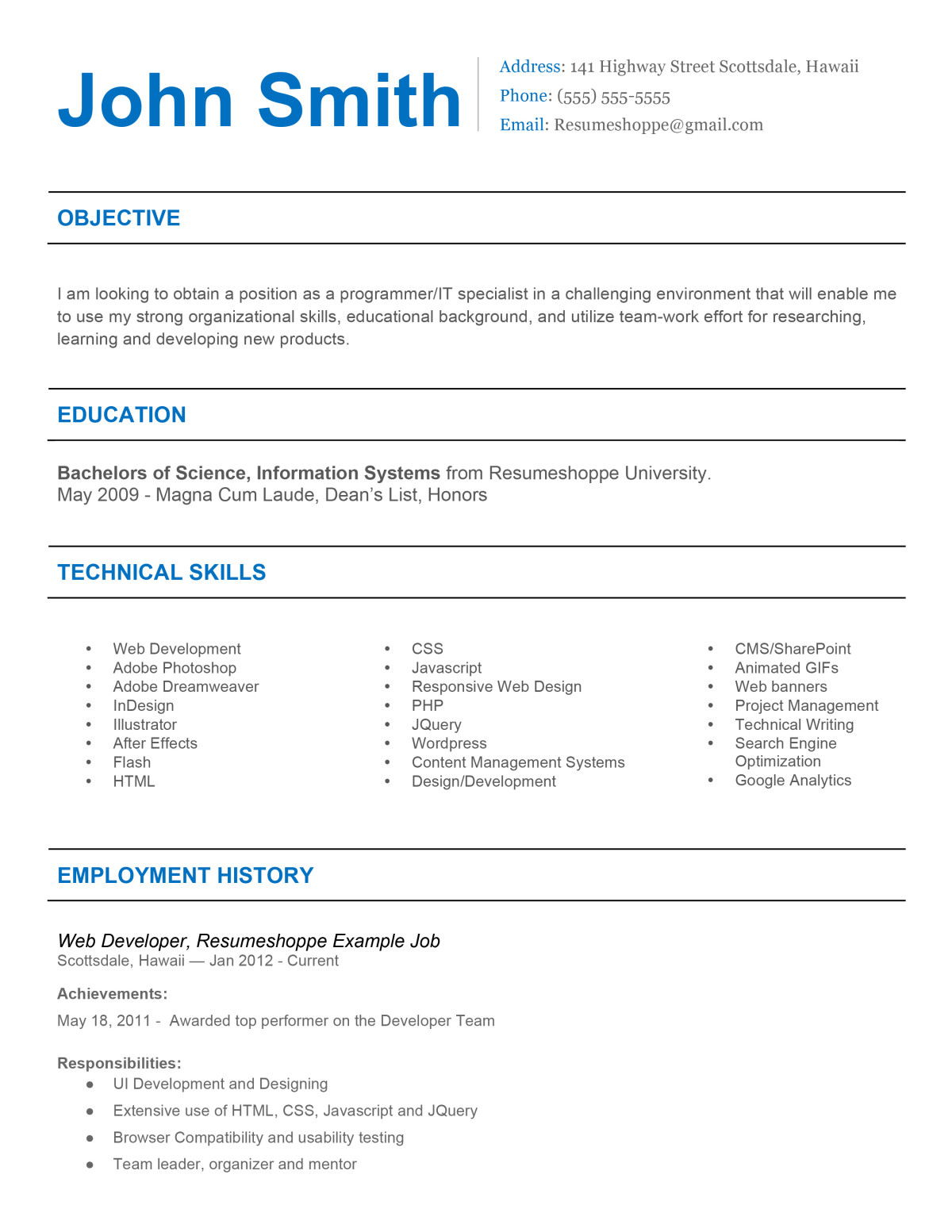 the john resume 2 1 - Effective Resume