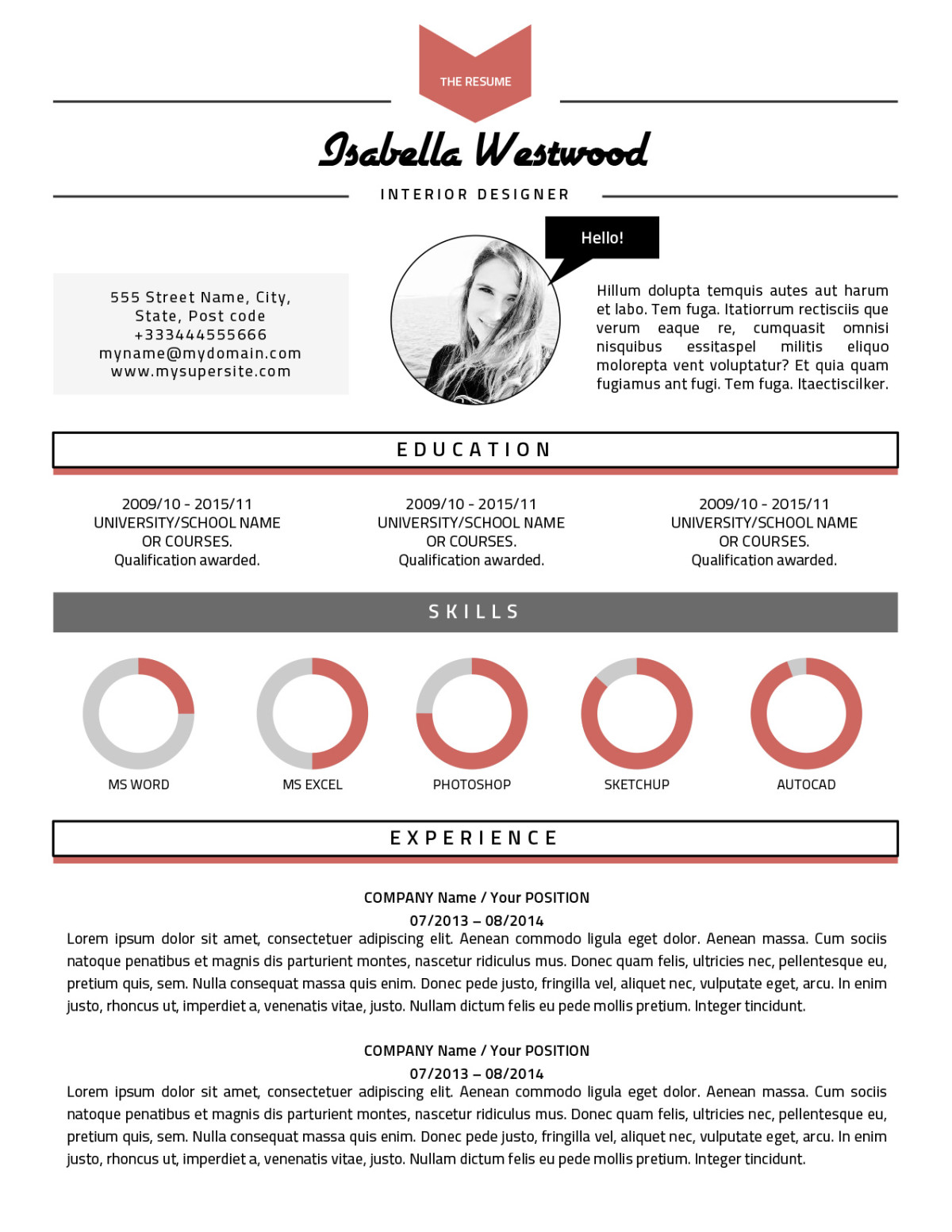 The Isabella Resume Bespoke and simple to edit