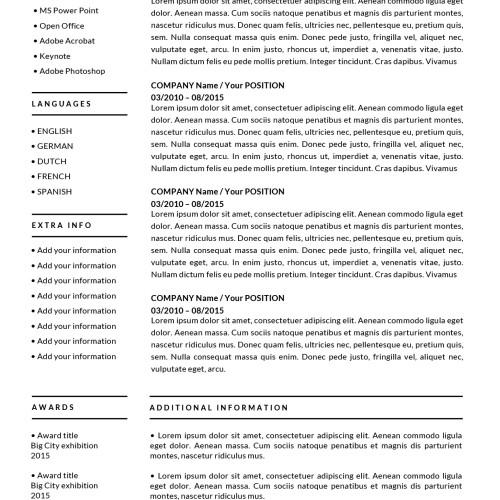 resume second page