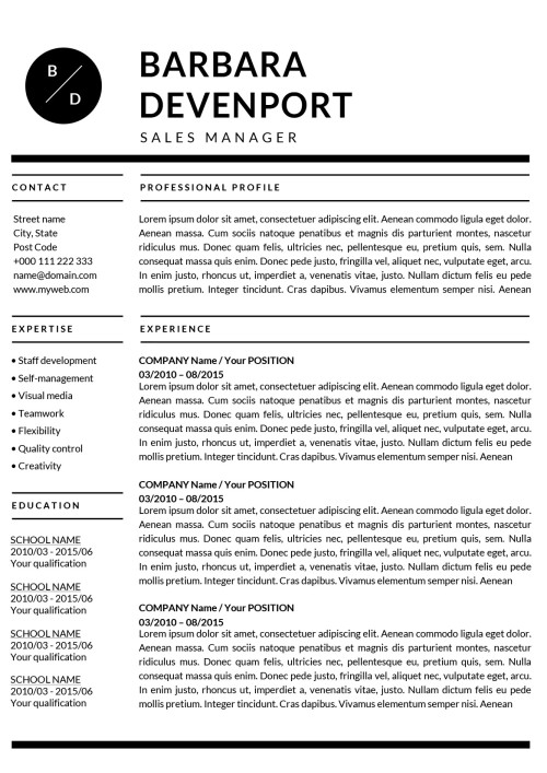 US Letter Resume  Word Resume Template Mac