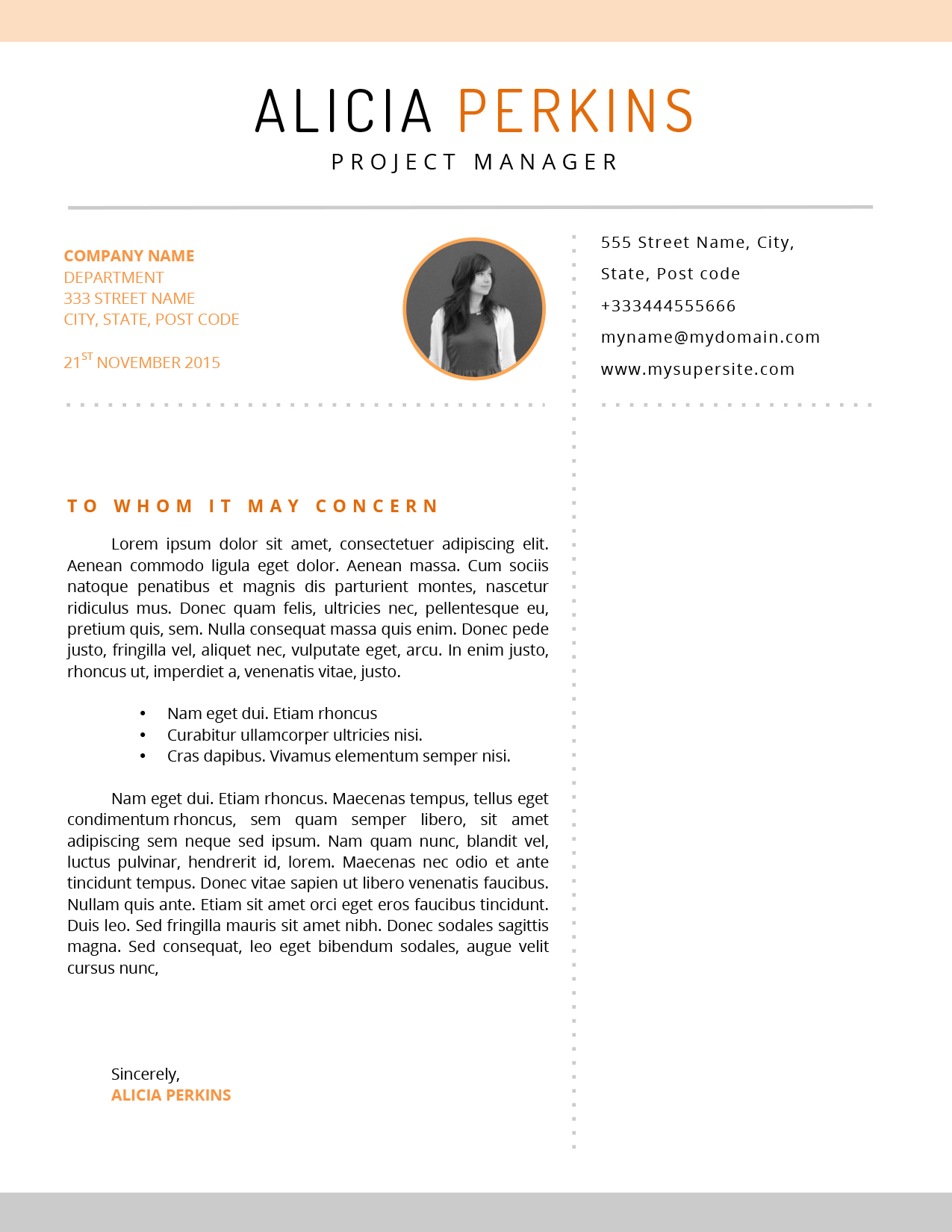 Alica Cover Letter template