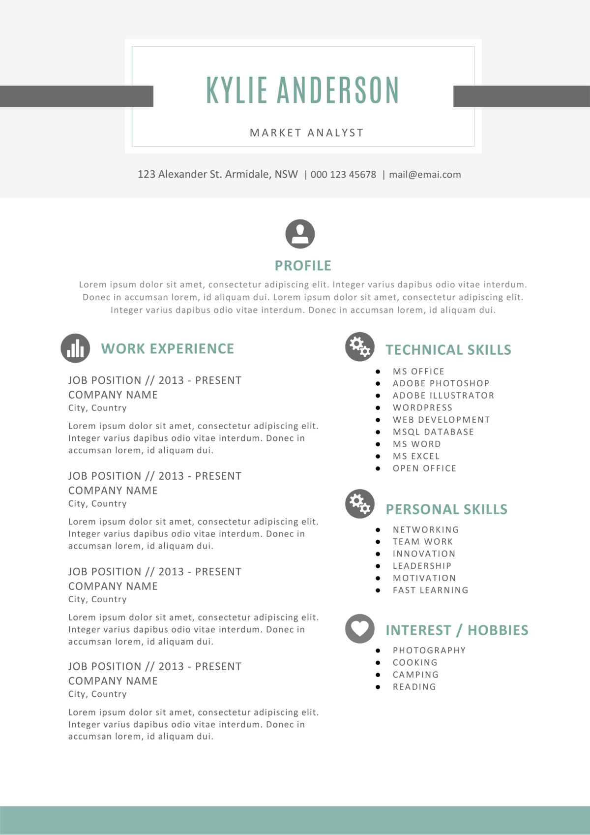 Beautiful Kylie Anderson Resume Template For Soft Copy Of Resume