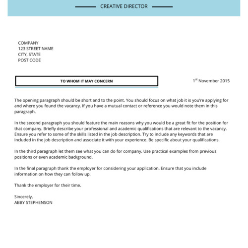 Creative Director Cover Letter Examples   Cover Letter Examples