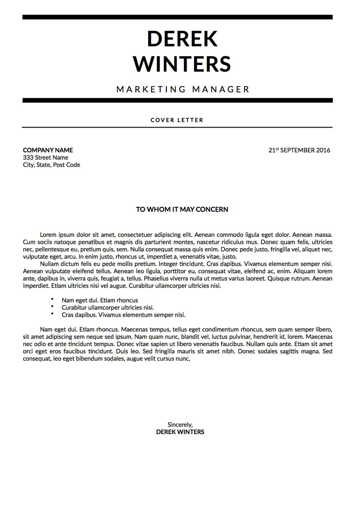 Derek Winters Cover Letter Monochrome Template