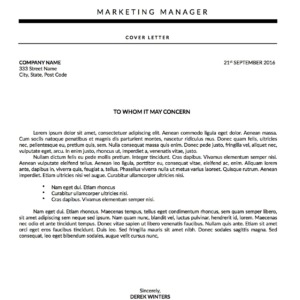cover letter template titled Derek Winters