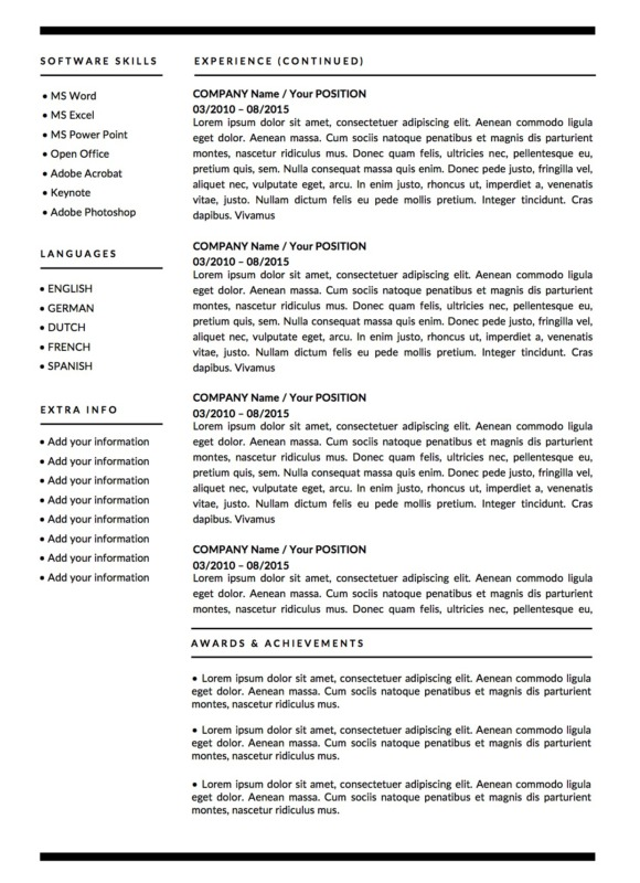 Derek Winters monochrome resume template page 2
