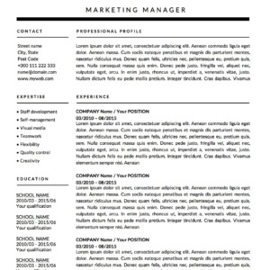 Derek Winters monochrome resume template page 1