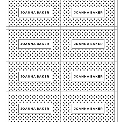polka dotted business card front
