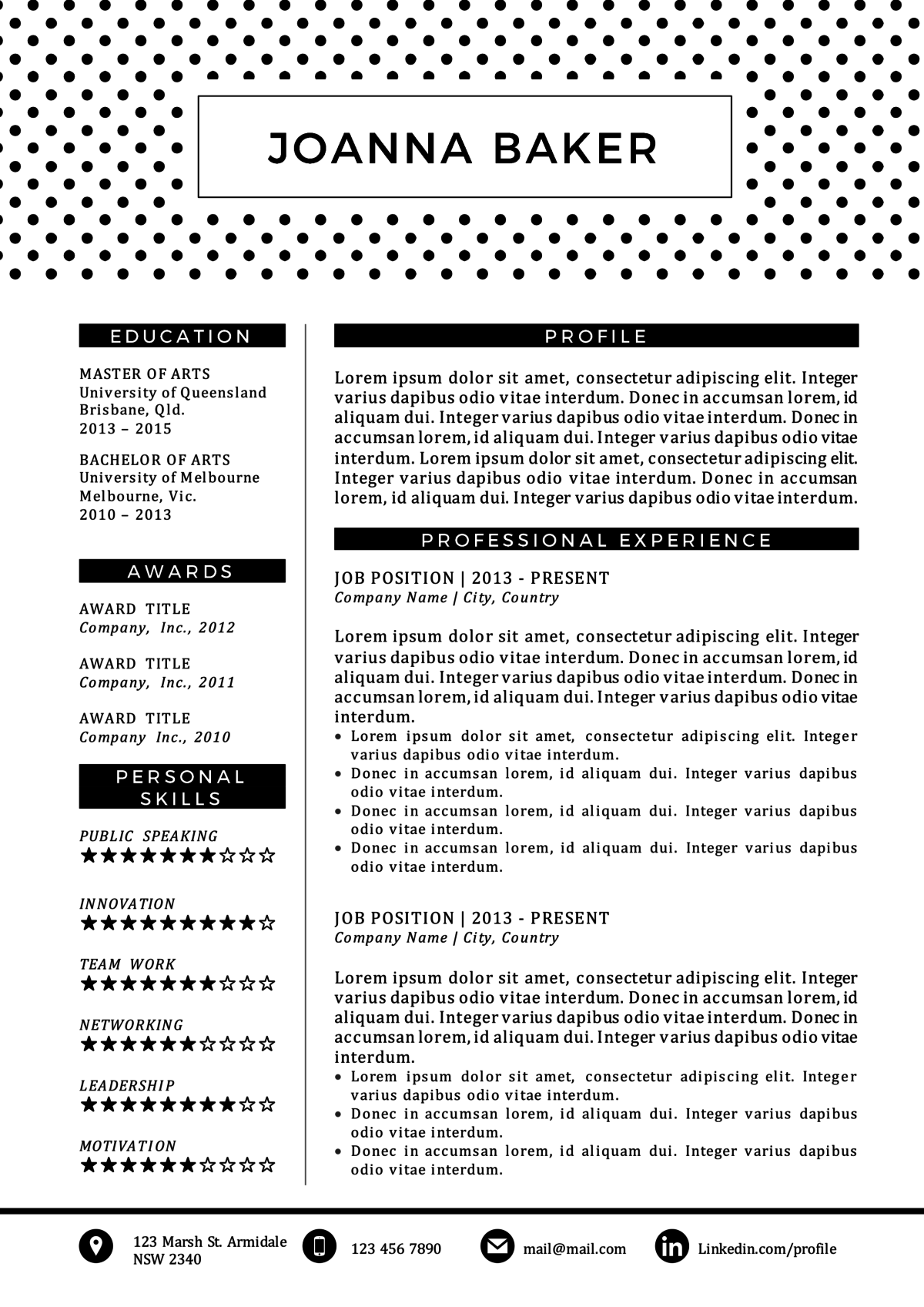 Polka Dotted Black And White Resume Template  Baker Resume