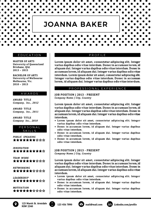 polka dotted black and white resume template