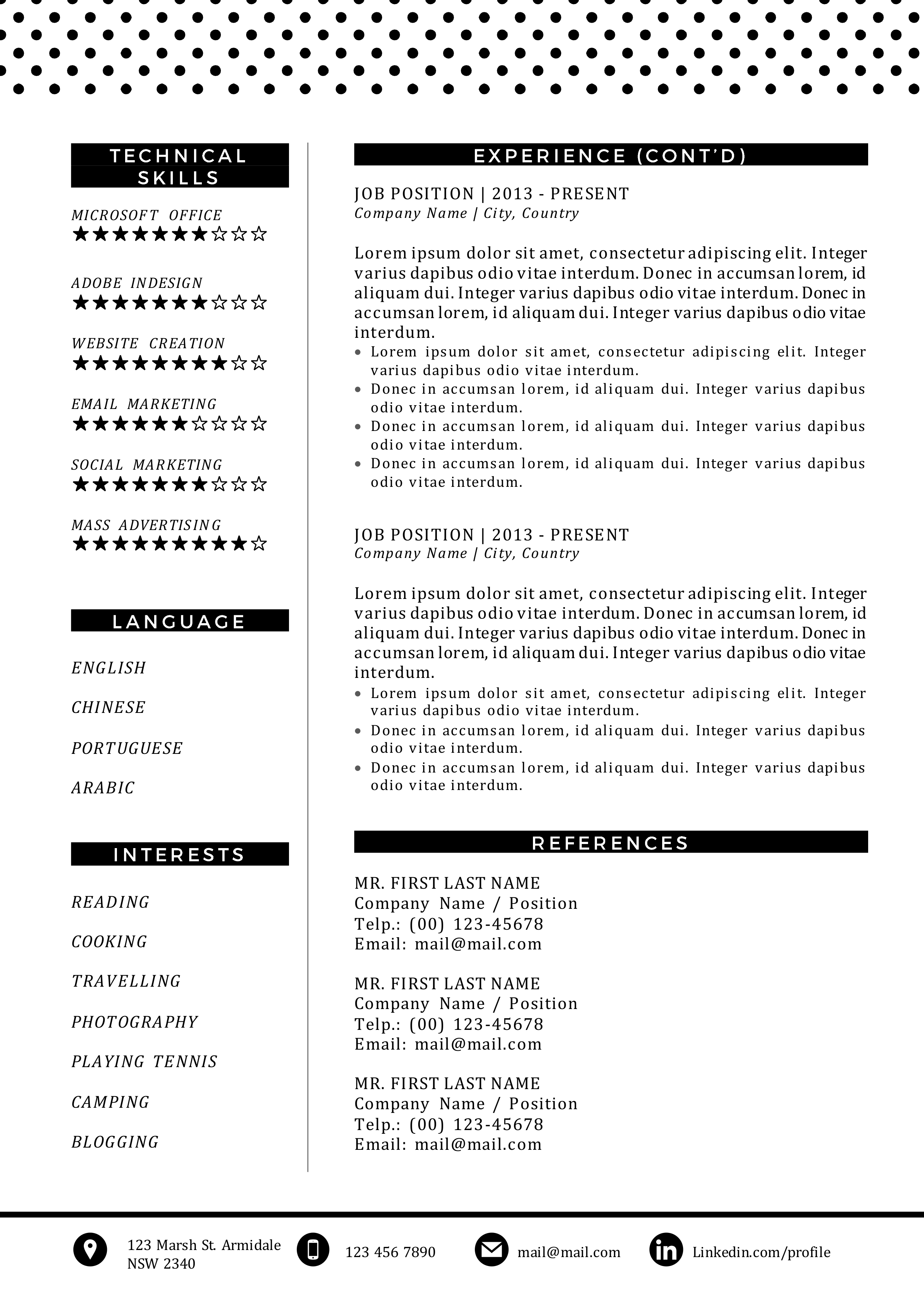 long resume template with second page for more details