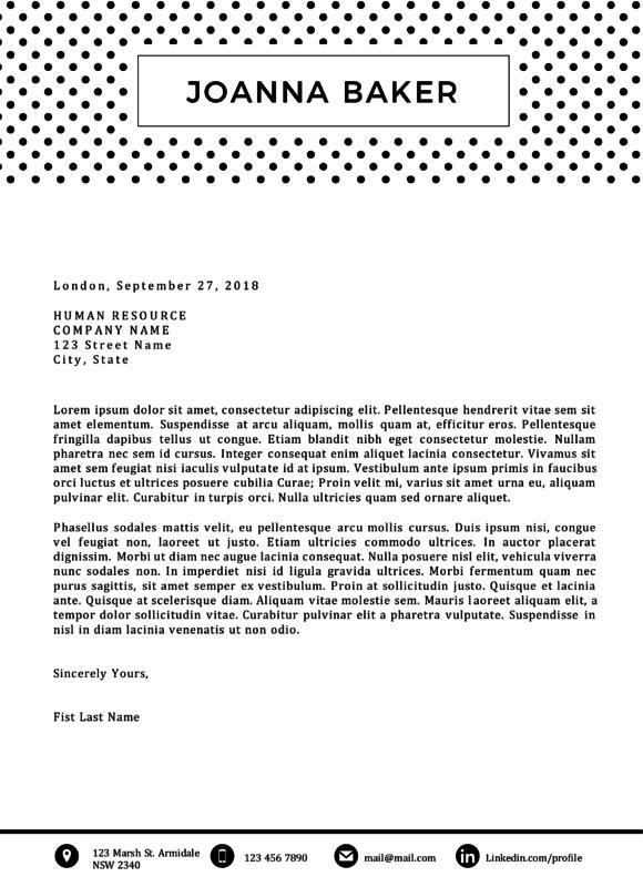 joanna baker polka dotted cover letter template