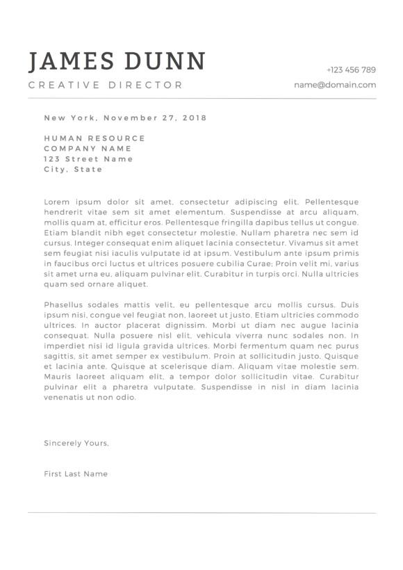 minimal covering letter