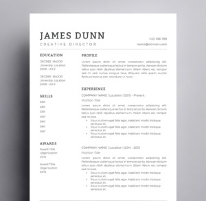 black and white minimal resume template
