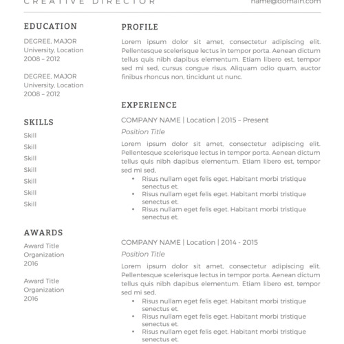 minimal black and white resume template