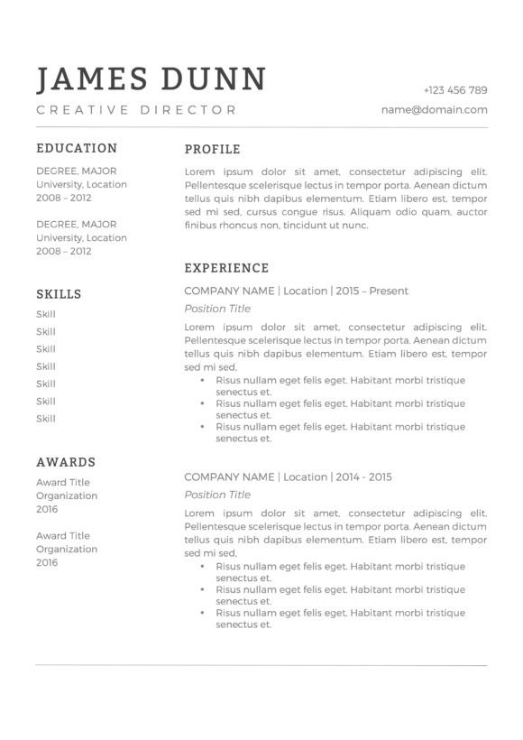 minimal black and white resume template