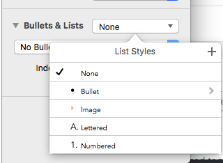 how to add bullet point in apple pages