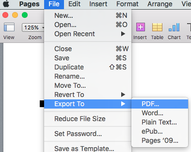how to export pages file as pdf on mac