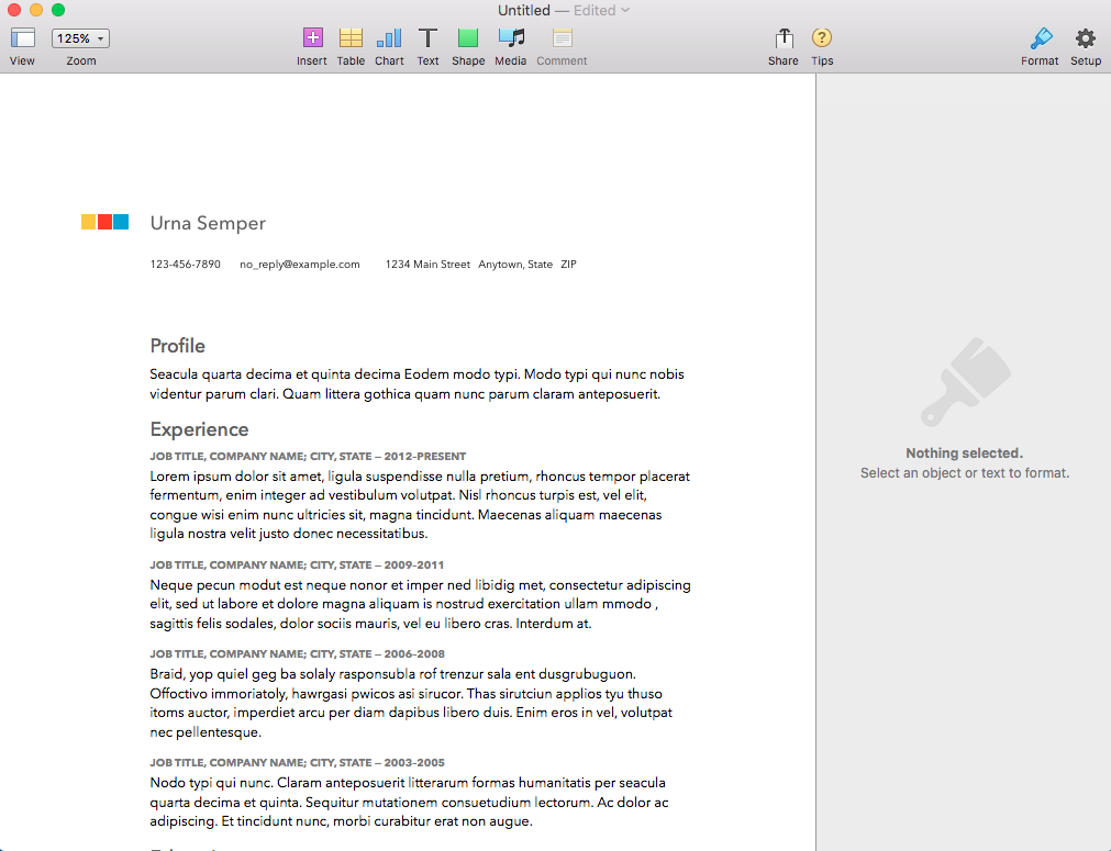 modern resume template in apple pages - How To Set Up A Resume
