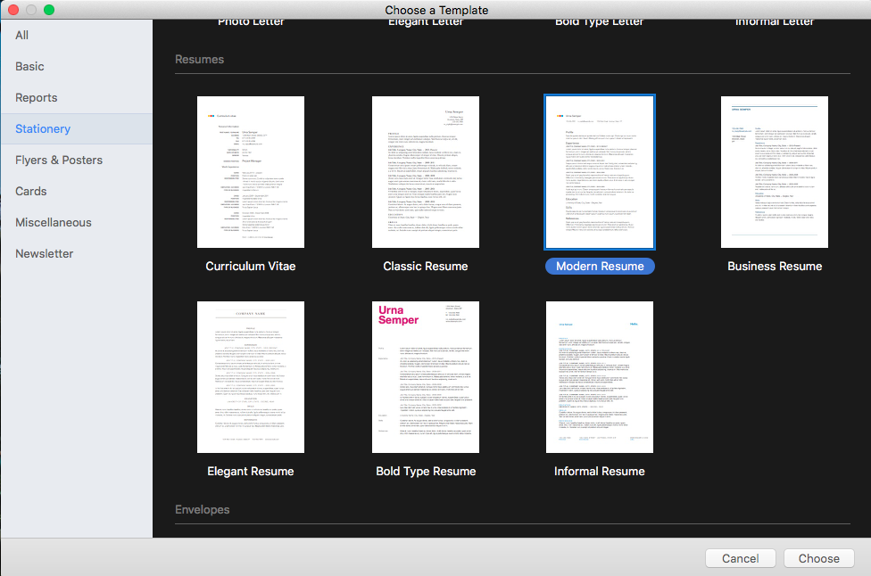 choose a template in apple pages