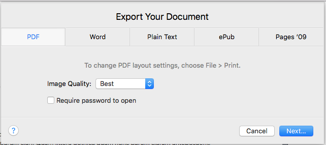 pdf export with best image quality