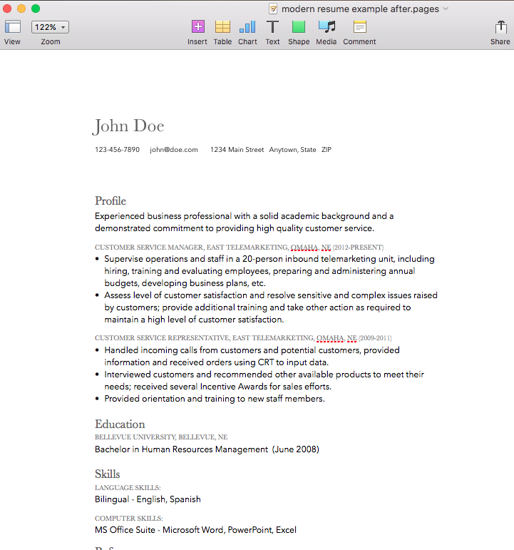 modern resume design mac pages