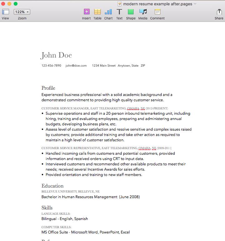 modern resume design mac pages