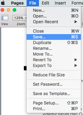 save Pages file on mac