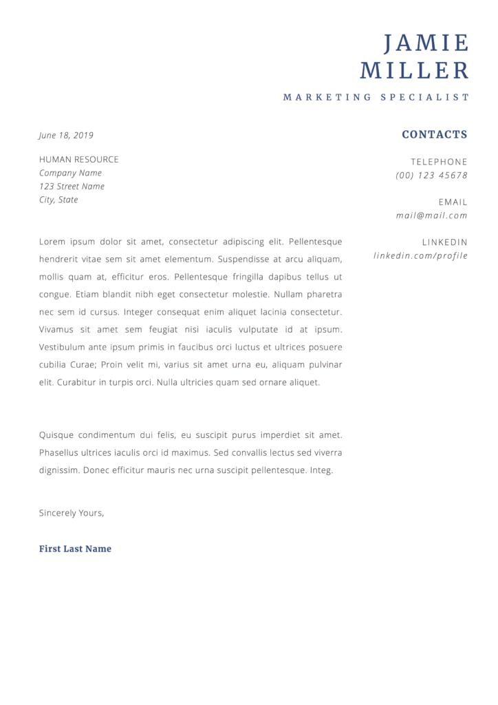 jamie miller cover letter