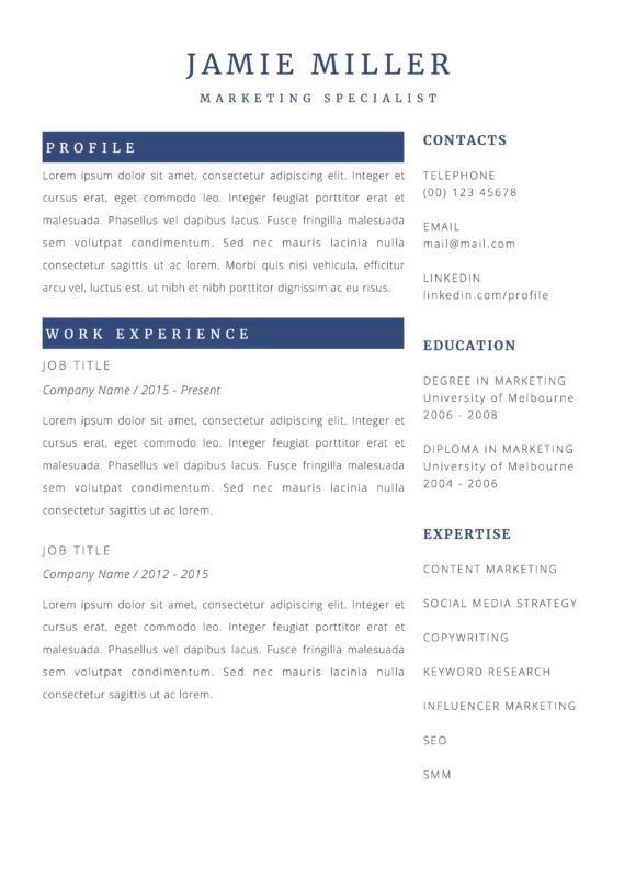 clean marketing resume template